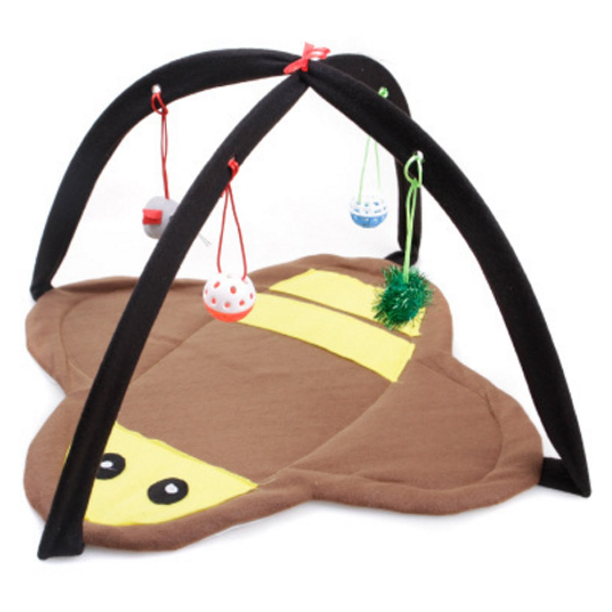 IDS Home Cat Bed Tent Foldable Bee Style Soft Fleece Breathable Matress with Ball for Playing Sleeping - Yellow + Brown