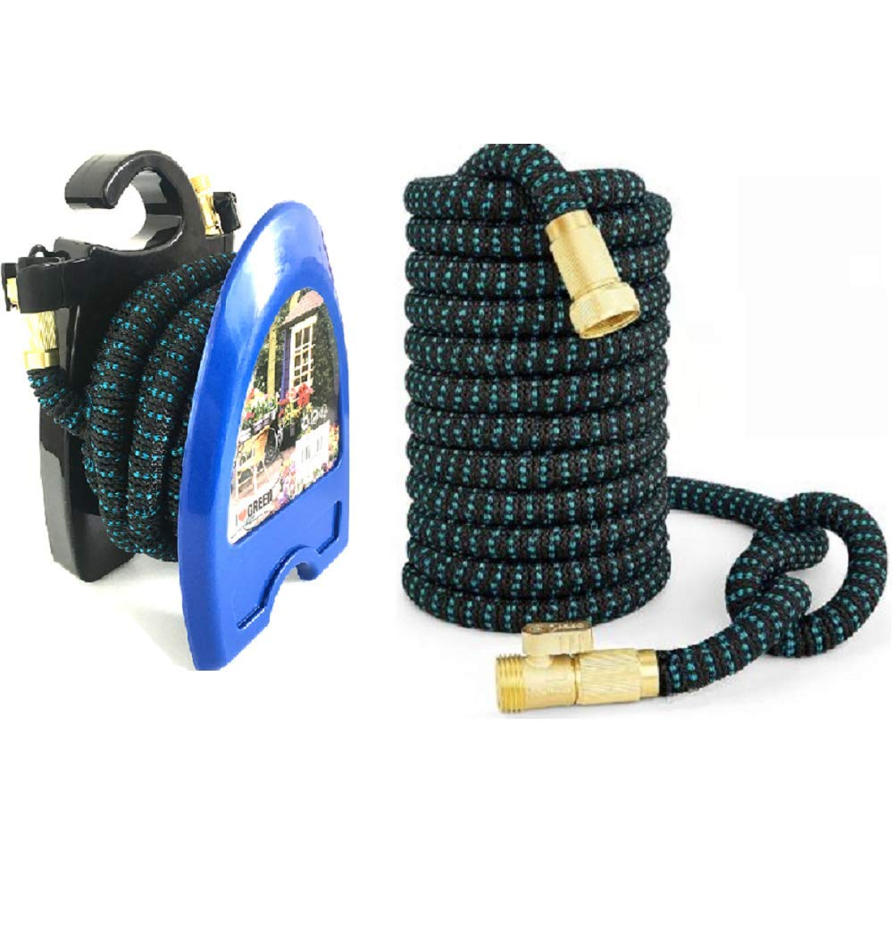 Expandable Garden Hose 50ft and Hose Reel. New Model!! Light Weight Triple Layer Expanding Hose + Hose Reel! Brass Fittings & On Off Valve