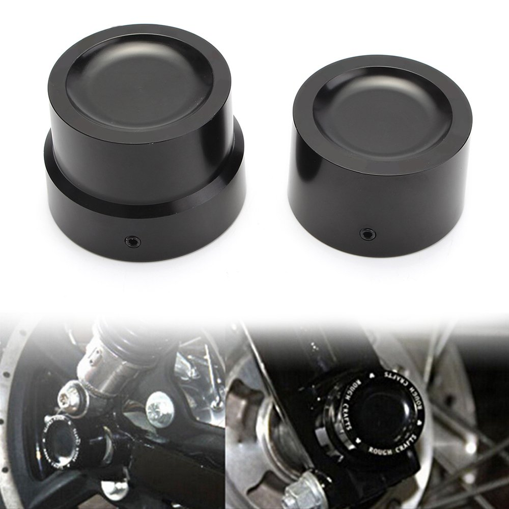 CNC Black Rear Axle Nut Cover Axle Caps Bolu For Harley 883 1200 XL Dyna Fatboy Street Bob Super Glide V-Rod Softai(Pack 2)