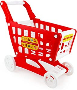 Boley Mart Red Shopping Cart - Grocery Shopping Pretend Play Baby Shopping Cart Toy for Toddlers - Some Assembly Required