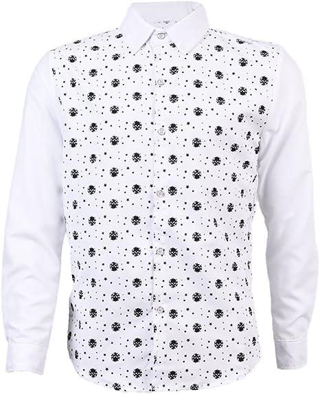 SODIAL Camisas Para Hombre de Patron de Estrellas de Cabeza de Esqueleto de Manga Larga Casual Delgada Camisas de Vestir de Moda Para Hombre, Blanco L: Amazon.es: Deportes y aire libre