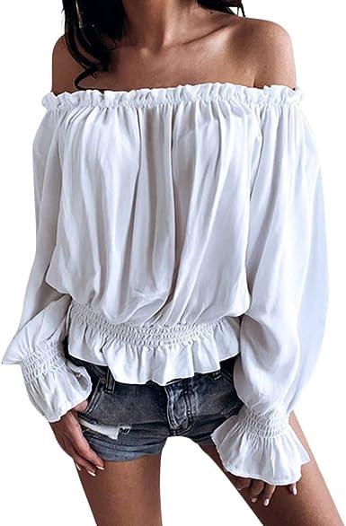 Luckycat Mujer Verano Casual Blusa Camiseta Manga Larga Suelto T-Shirt Tops Sin Tirantes Camisas Mujer Fuera Camisa del Hombro Manga De Trompeta Blusas Casual Top Camiseta Vestido túnica Swing Estilo: Amazon.es: Ropa