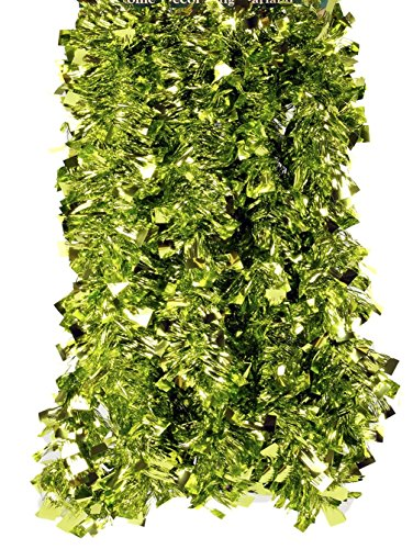 Fix Find Elegant Hanging Holiday Tinsel Garland 3-inches Thick x 12-feet - Lime Green Boa