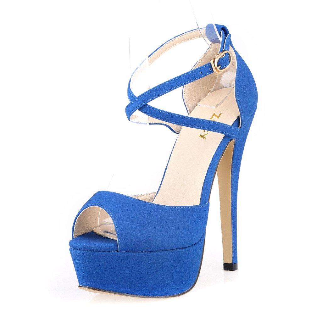 19d655c3c0e ZriEy Womens Peep Toe Strappy Platform Stiletto Ladies High Heel ...