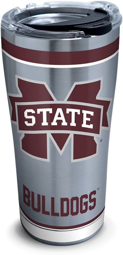 Tervis 1228581 Mississippi State Bulldogs Colossal Tumbler with Wrap and Maroon Lid 16oz Clear