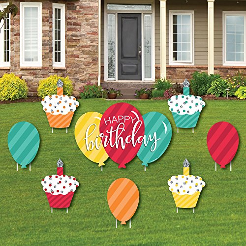 Colorful Happy Birthday - Cupcake & Balloon Yard Sign & Outdoor Lawn Decorations - Birthday Yard Signs - Set of 8