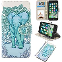 iPhone 7 Case, iPhone 8 Case, UrSpeedtekLive Wallet Case, Premium PU Leather Flip Case Cover with Card Slots & Kickstand for Apple iPhone 7 (2016) / iPhone 8 (2017) -Elephant