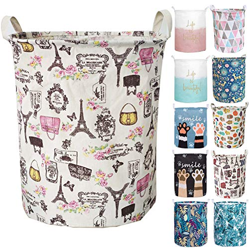 Aouker Merdes 19.7'' Waterproof Foldable Laundry Hamper, Dirty Clothes Laundry Basket, Linen Bin Storage Organizer for Toy Collection (Paris) (Paris Bedroom Decor)