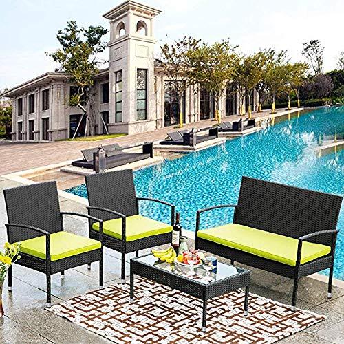 Merax 4 PC Rattan Patio Furniture Set Wicker Conversation Set Garden Lawn Outdoor Sofa Set Cushioned Seat Tempered Glass Table Top (Green Cushion)