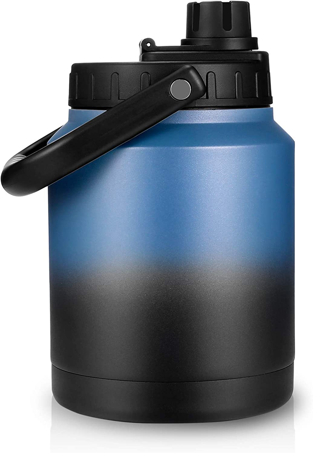 Sursip 64 Oz Vacuum Insulated Water Jug,Half Gallon Stainless Steel Double Walled Water Bottle,18/8 Food-Grade Insulated Water Bottle ,Travel Drinking Water Flask-Blue&Black