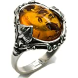 Amber and Sterling Silver Leaves Oval Ring