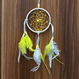 Gsha Handmade Mini Dream Catcher With Feathers Long Wall Car Hanging Key Chain Decor (Yellow(Dia:3.9inch))