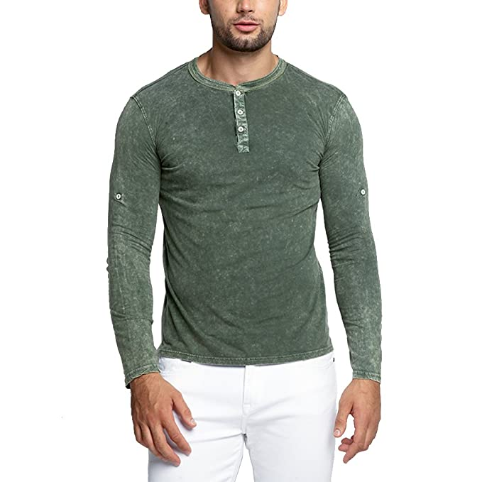 7b458ff2c854 OA ONRUSH AESTHETICS Men's Muscle Fit Vintage Washed Long-Sleeved Henley  Shirts in Green L
