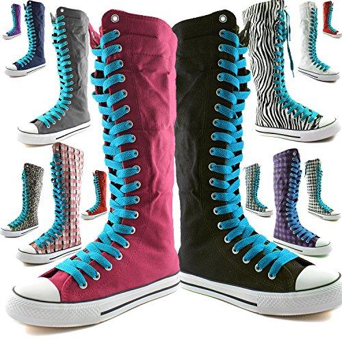 DailyZapatos Mujeres Canvas Mid Calf Tall Botas Casual Sneaker Punk Flat, Beige Botas Negras, Encaje Beige