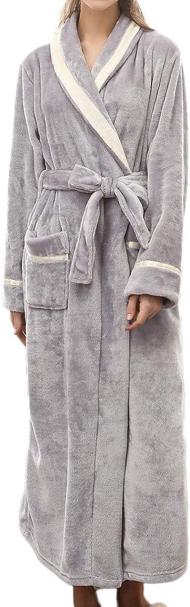 Luxury Long Bath Robe Dressing Gown Hooded Mens Womens Fluffy Fleece Bathrobe