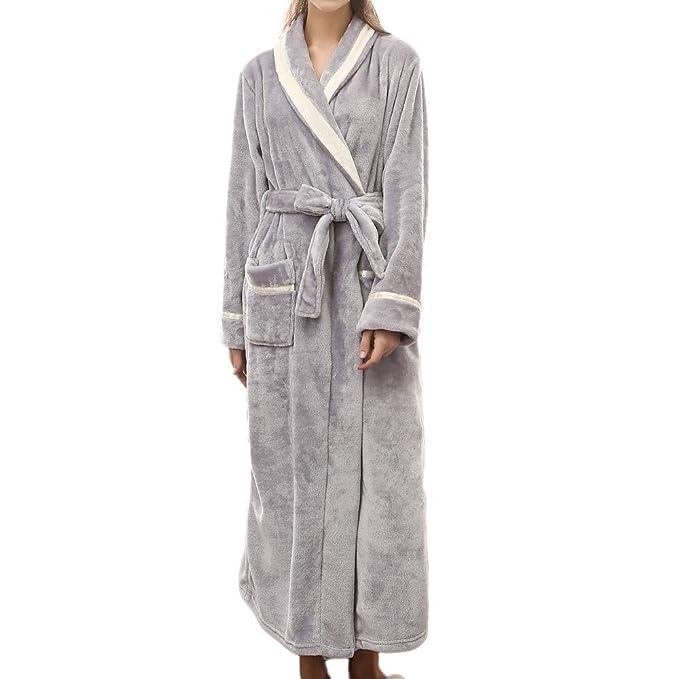 Amlaiworld Ropa de Dormir para Mujer Bata de Invierno Alargada para Mujer Hombre Albornoces Unisex Robe Señoras Absorbente Mujeres Shawl Towel baño Abrigo: ...