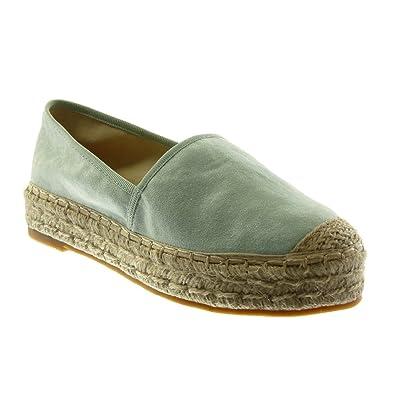 Angkorly Damen Schuhe Espadrilles - Slip-On - Seil Blockabsatz 3.5 cm - Schwarz LX163 T 39 8g45K4