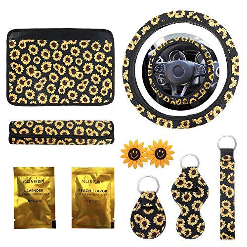 Sunflower Car Accessories Set, INTSUN 10Pcs Cute Car Accessories Set for Women and Man, Include Sunflower Steering Wheel…