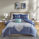 King Size Comforter Set - [ Genny ] 4 Pieces Embroidered All Season Down Alternative Bed In A Bag Set - Blue Bedding - Includes 1 Bed Comforter, 2 Shams, 1 Décor Pillow