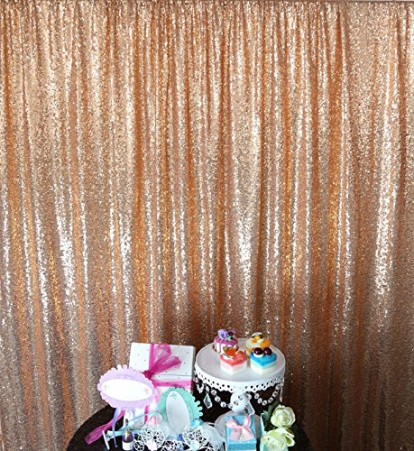 10' Rectangular Rose - ShinyBeauty Sequin Backdrop 10FTx10FT-Rose Gold,Sequin Curtain for Backdrop Photo Booth Party Props Glitter Sequin Fabric Weddig Background (10FTx10FT, RoseGold)