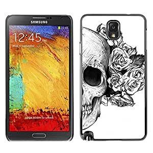 Paccase / SLIM PC / Aliminium Casa Carcasa Funda Case Cover - Rose White Black Skull Death Flower - Samsung Note 3 N9000 N9002 N9005