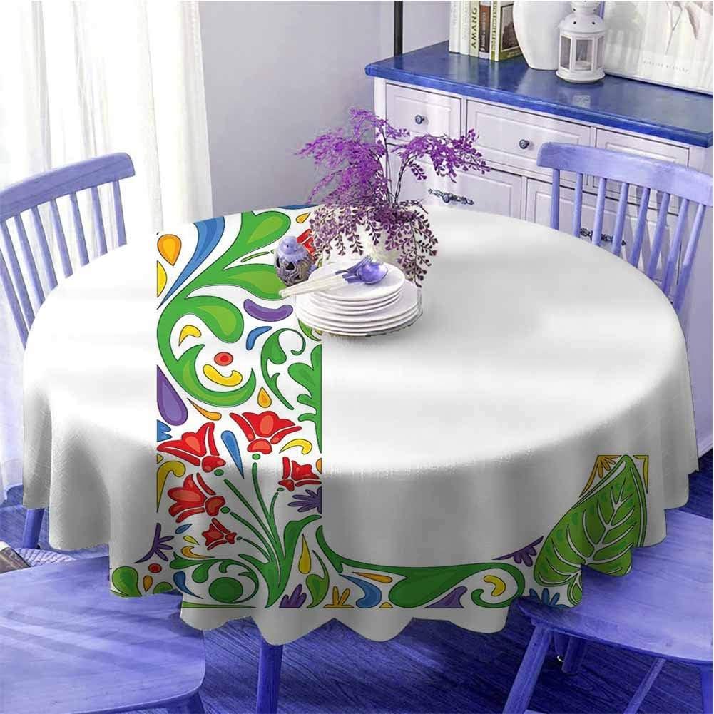 Letra L Multicolor Mesa redonda Composición Vintage con hojas artísticas y flores en colores vivos Impresión como regalo Diámetro 63