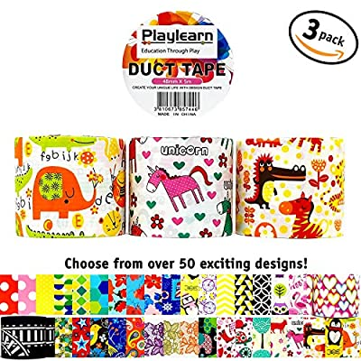 Design Duct Tape 48mm x 16 Feet - Kids Fun Extra Strong Printed Arts & Crafts Multi Pack - By Playlearn