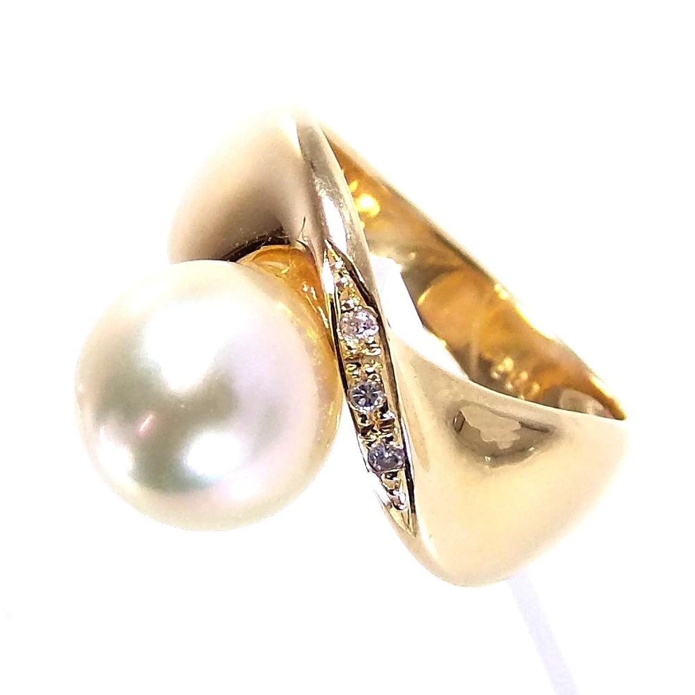 リング指輪 6.4g K18 パール ダイヤ0.03ct 8.5号 レディース 中古 B07DL2Z91S