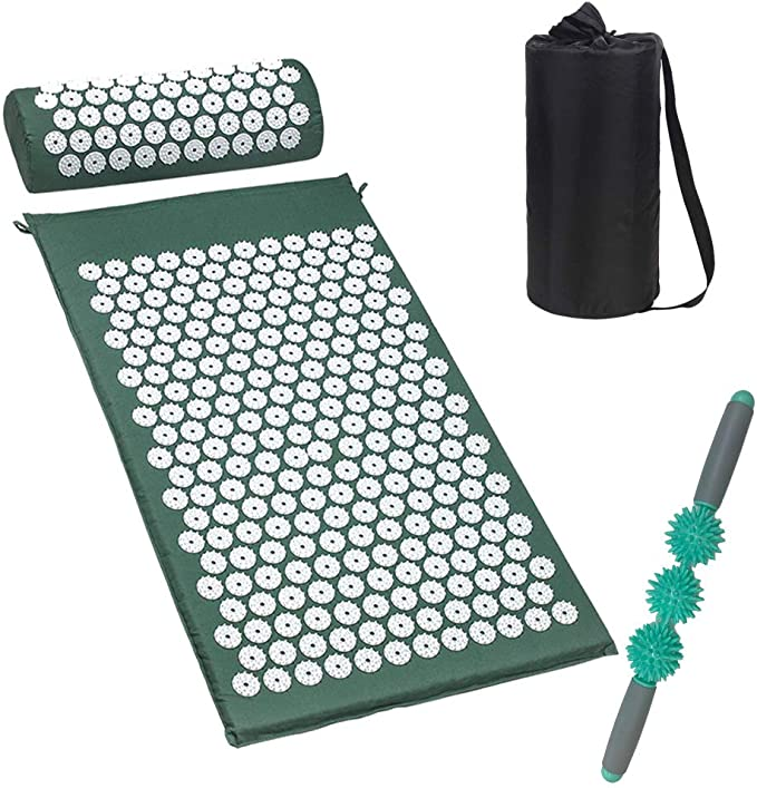 Amazon.com: Acupressure Mat and Neck Massgae Pillow Set for Back Pain Relief Massage Stick Pressure Point Muscle Massage Roller, Full Body Massager Yoga Acupuncture Mat Cushion for Sciatica, Includes Carry Bag.: Health & Personal Care