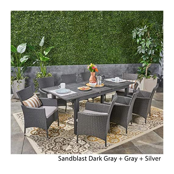 Great Deal Furniture Austin Outdoor 9 Piece Wood and Wicker Expandable Dining Set, Dark Gray and Gray and Silver - If you're going to invest in a fine place for you and your loved ones to dine outdoors, you may as well allow room for your family to grow. This expandable dining set seats eight and the adjustable table allows you to customize its dimensions to accommodate not only new friends and relatives but also larger meals and other activities that may call for just a bit more space. Includes: One (1) Dining Table and Eight (8) Chairs. Table Material: Acacia Wood. Chair Material: Polyethylene Wicker. Chair Frame Material: Iron. Cushion Material: Water Resistant Fabric. Composition: 100% Polyester. Table Finish: Gray. Wicker Finish: Dark Gray. - patio-furniture, dining-sets-patio-funiture, patio - 61RczCf3BpL. SS570  -