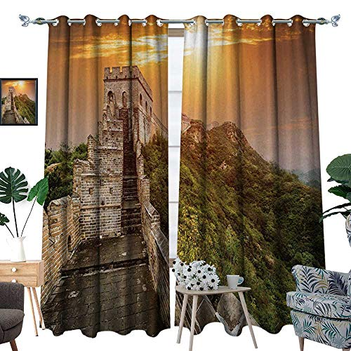 RenteriaDecor Great Wall of China Patterned Drape for Glass Door The Magnificent Heritage of World Background Brick Borders Picture Waterproof Window Curtain W72 x L96 Orange Green