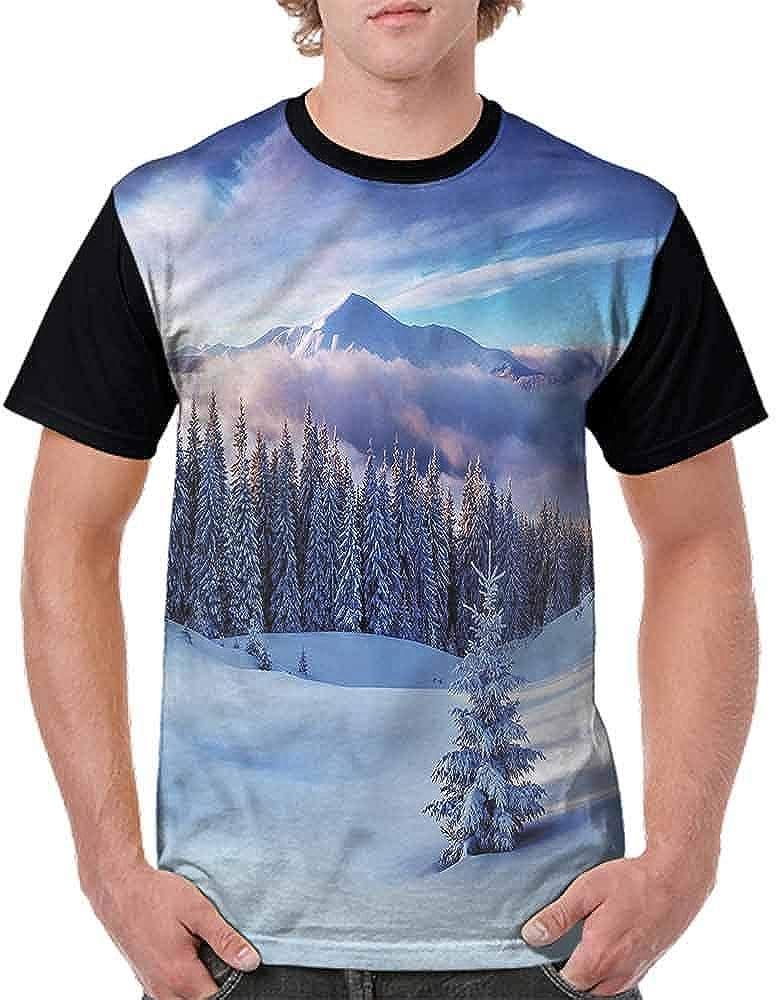 Vintage T-Shirt,Lake Scene Illustration Fashion Personality Customization