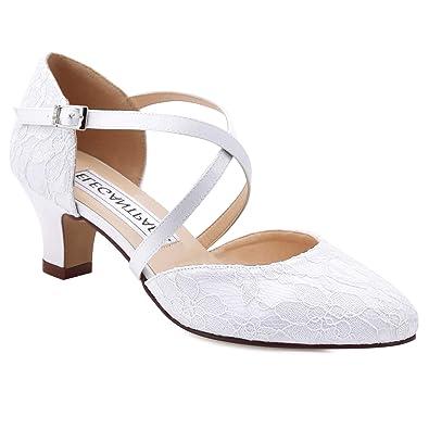 b8c022ea151c Duosheng   Elegant HC1920 Women Closed Toe Mid Block Heel Court Shoes Cross  Strap Lace Wedding