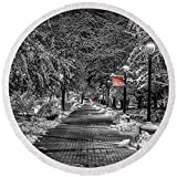 Pixels Round Beach Towel With Tassels featuring ''Eastern Path With Red'' by Mark Kiver