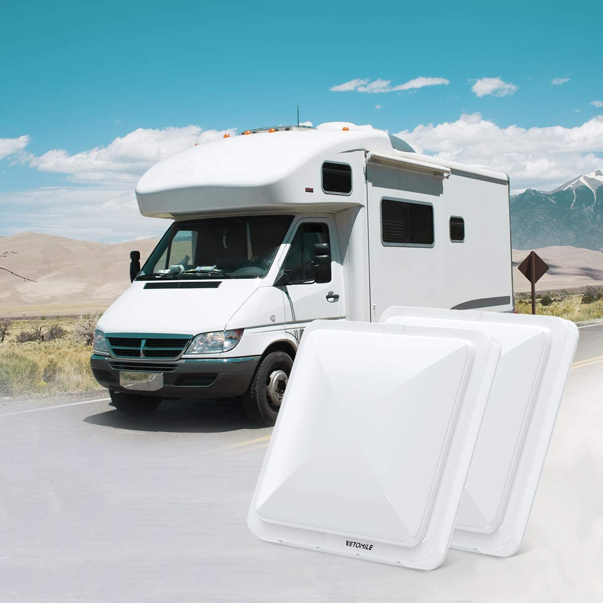 VETOMILE RV Roof Vent Lid Cover 14 inch Universal White Cover Lid for Motorhome Trailer RV Camper 2 Pack: Home Improvement