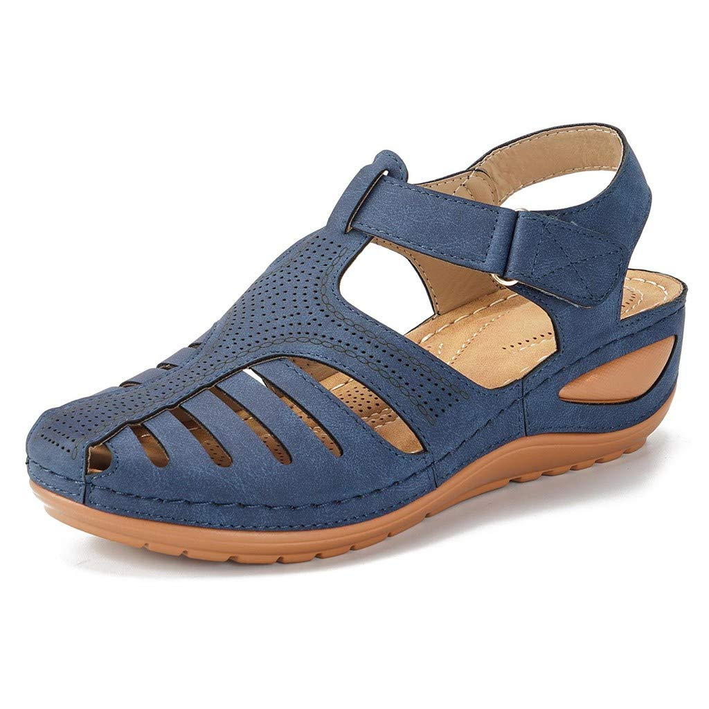Sanyyanlsy Women Casual Retro Hollow-Out Breathable Hook and Loop Sandals Cross Wedge Platform Solid Color Sandals Navy by Sanyyanlsy
