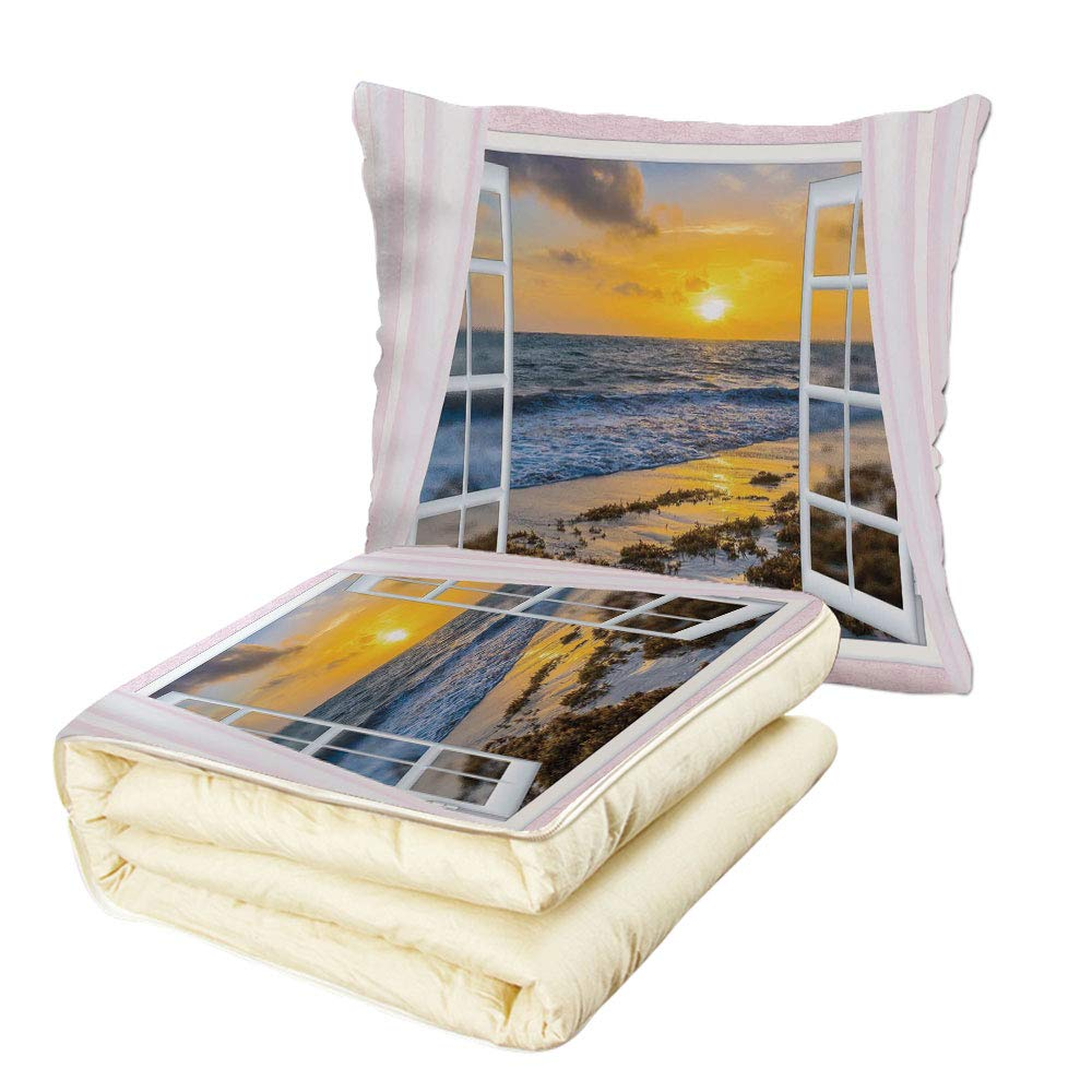 iPrint Quilt Dual-Use Pillow Coastal Open Window View of The Sky with Clouds Rising Sun Seascape Grass Morning Scenery Multifunctional Air-Conditioning Quilt Multicolor