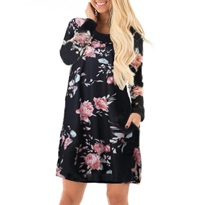 OverDose vestidos mujer manga larga casual fiesta de floral impreso