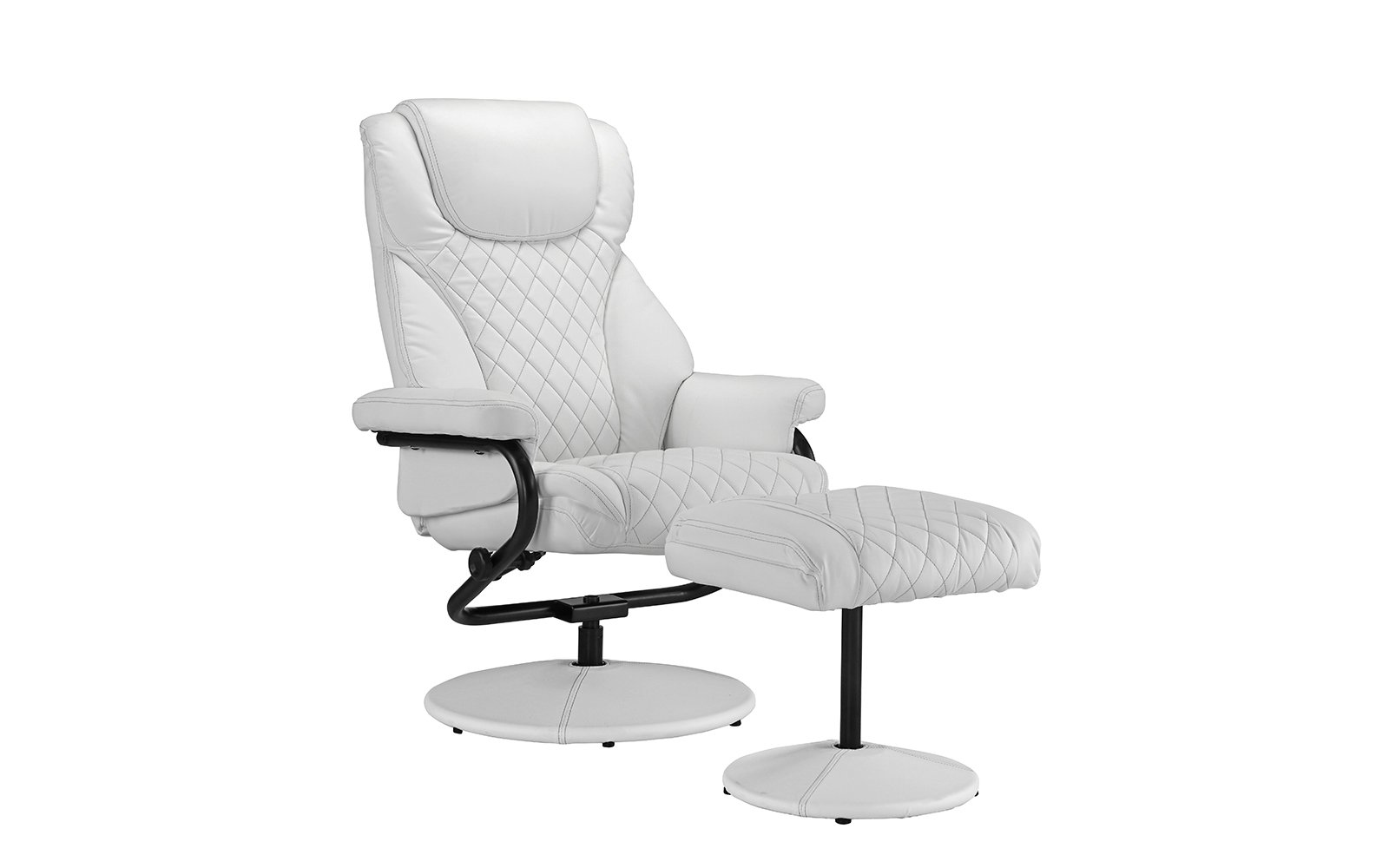 Divano Roma Furniture Office Swivel Chair with Footstool, Faux Leather Reclining Executive and Gaming Chairs
