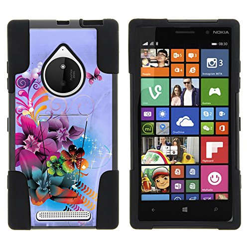 Nokia Lumia 830 Case, Dual Layer Shell STRIKE Impact Kickstand Case with Unique Graphic Images for Nokia Lumia 830 (AT&T, T Mobile, Verizon) from MINITURTLE | Includes Clear Screen Protector and Stylus Pen - Purple Flower Butterfly