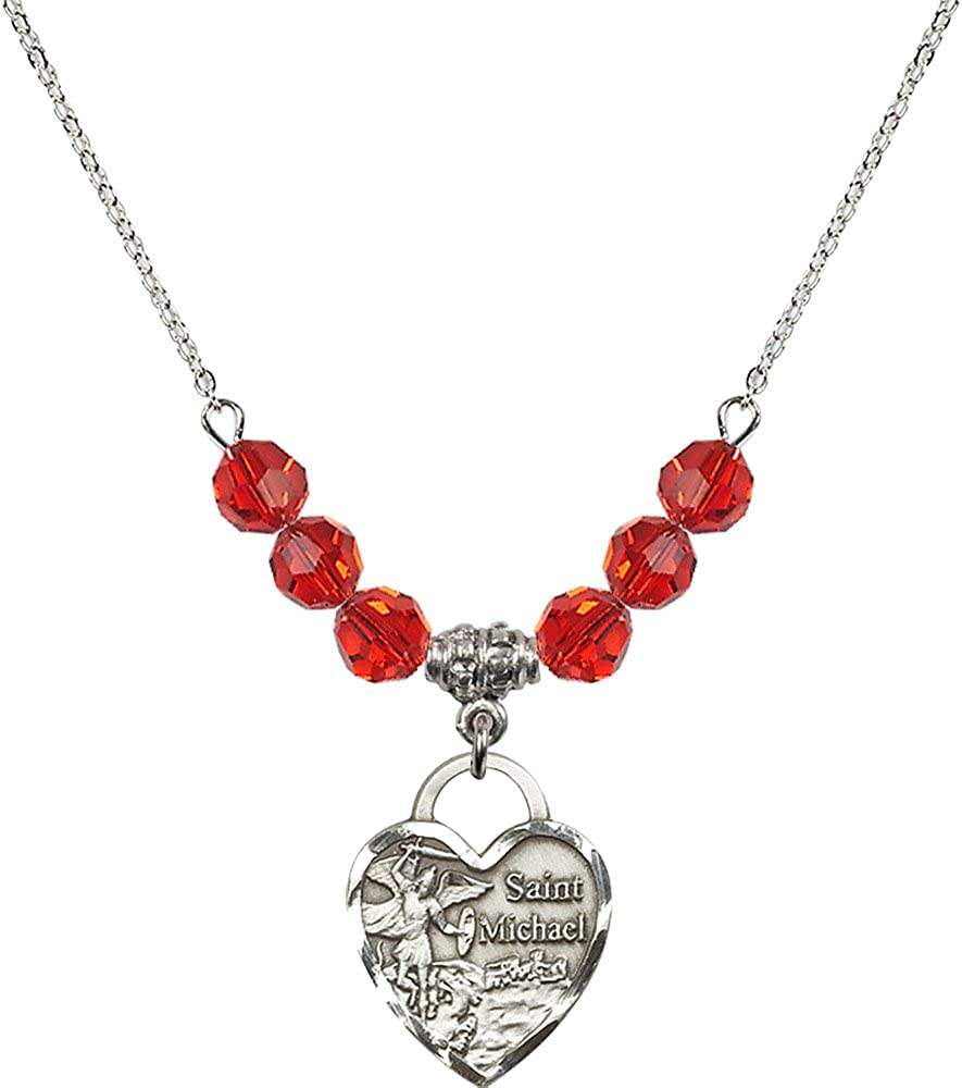 18-Inch Rhodium Plated Necklace with 6mm Ruby Birthstone Beads and Sterling Silver Saint Michael the Archangel Charm.