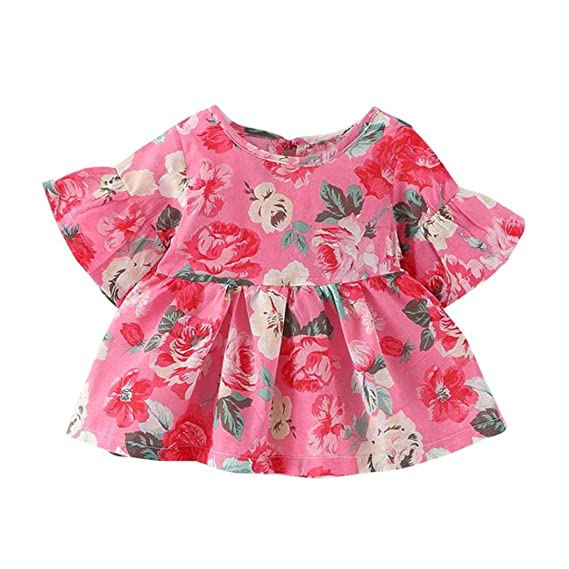 Franterd Baby Summer Dress Kids Girls Princess Floral Print Party Dresses