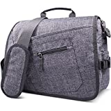 Qipi Messenger Bag - Pocket Rich Satchel Shoulder Bag for Men & Women - with 15.6 inch Laptop Compartment (Grey)