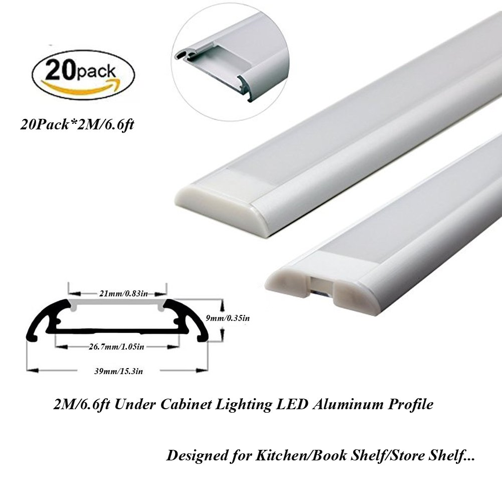 Hanks 20Pack 2M/6.6ft 39x9mm Under Cabinet Lighting Aluminum Channel Kit for Kitchen and Store Shelf Inner Width 21mm (20x2m Diffused)