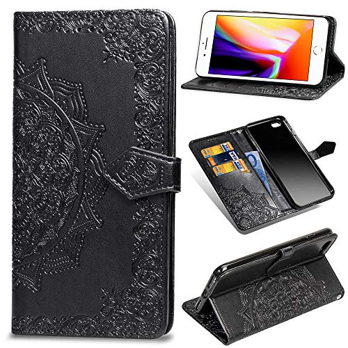 Misteem Mandala Case for iPhone 7 Plus, 3D Retro Sunflowers Pattern Leather Wallet Flip Bookstyle Magnetic Card Holder Protective Cover for iPhone 8 Plus/ 7 Plus 5.5 inch - Floral Flowers Black