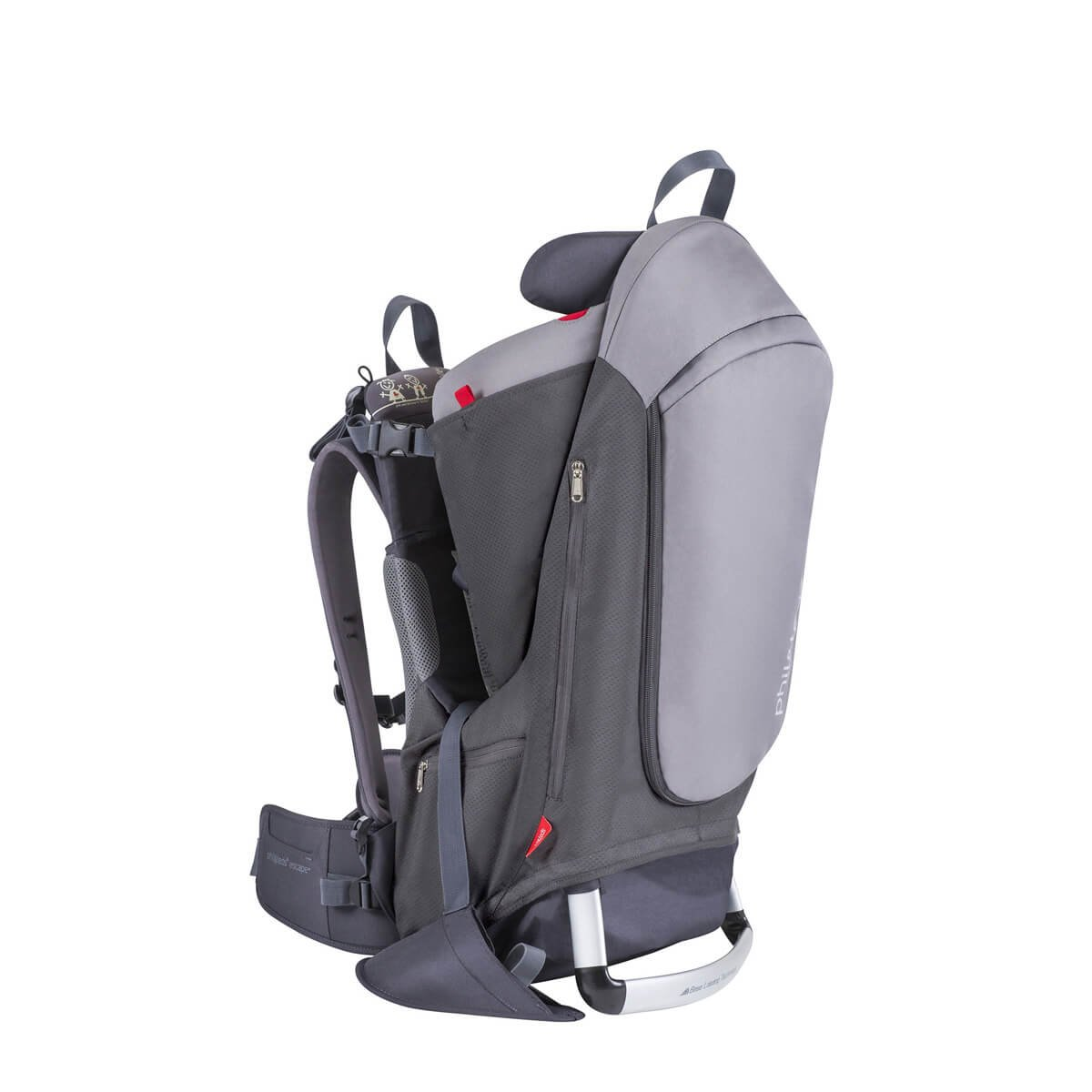 phil&teds Escape Child Carrier Frame Backpack, Charcoal – Height Adjustable Body-Tech Harness - Articulating Dual Core Waist Belt – Includes Hood, Daypack, Change Mat – 30L Storage – 2 Year Guarantee