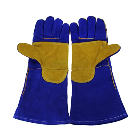 Guantes de soldar, guantes de manoplas de soldador, diseño de alta temperatura Barbacoa Estufa largo con ...