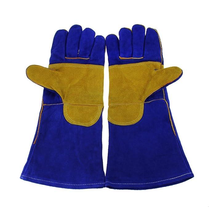 ... de alta temperatura Barbacoa Estufa largo con forro guantes de soldador Fuego de leña Guantes de seguridad guantes de trabajo resistente al calor, azul: ...