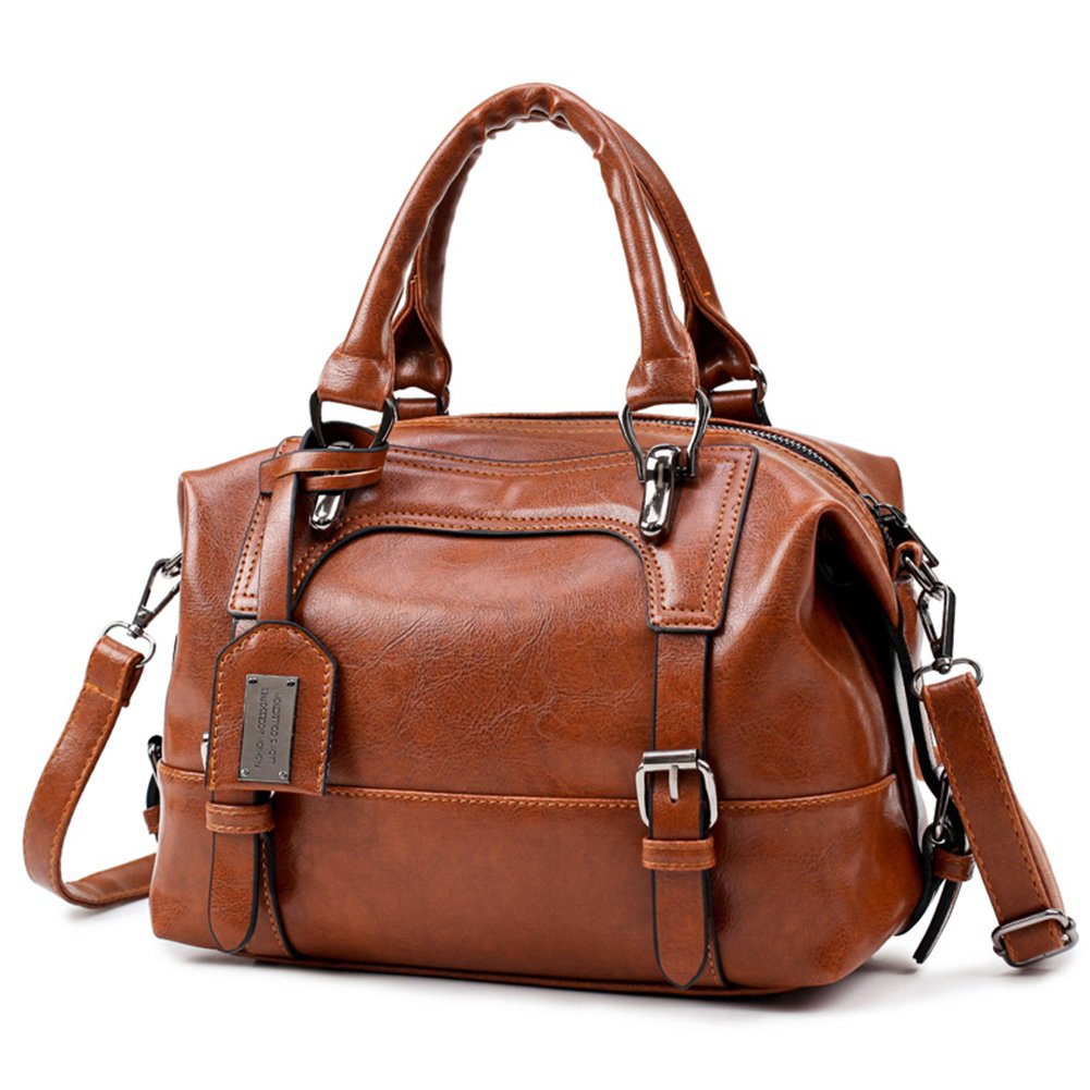Women's Handbags, Popoti Leather Shoulder Bags Messenger Crossbody Tote Bags, Adjustable New Elegant Lady Shopping Pockets Carrying Bag (Brown)