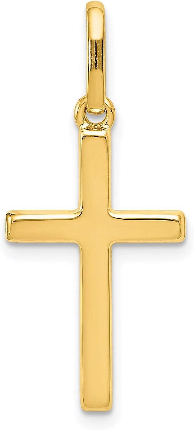 14K Solid Yellow Gold Tubular Cross Charm 27x14mm